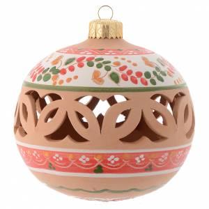 Décorations sapin bois et pvc: Boule de Noël ajourée en terre cuite 100 mm