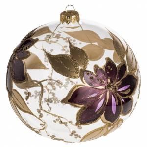 Boule de Noel fleurs fuchsia 15 cm s1