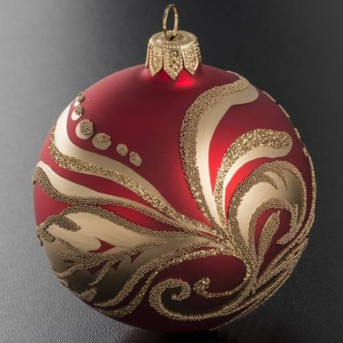 Boule de Noel rouge décorations florales or 8cm s2