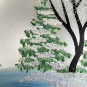 Boule de Noel verre blanc paysage 12 cm s4