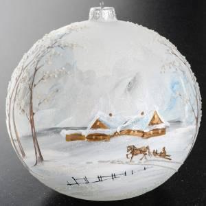 Boule de Noel verre paysage enneigé 15 cm s8