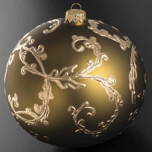Boule de Noel verre soufflé décors dorés 15 s2