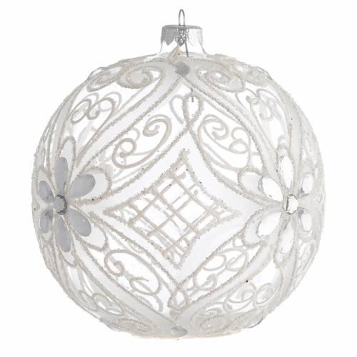 Boule pour Noël décor blanc mat et transparent 150 mm s2
