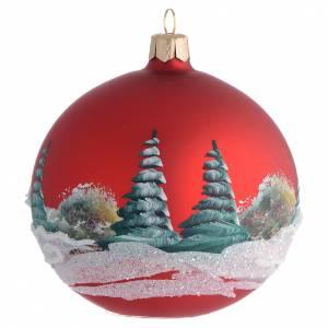 Boule pour Noël rouge paysage 100 mm s2