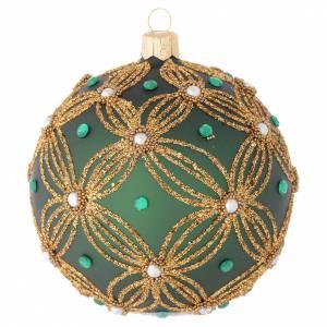 Boule verre soufflé verte décor or 100 mm s1
