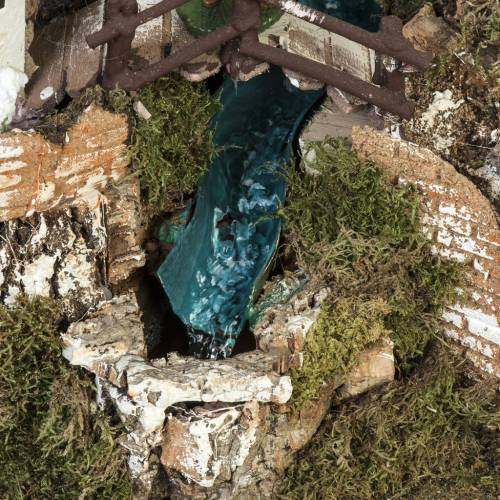 Bourg crèche Noel 74x43x36 cm avec cascade s5