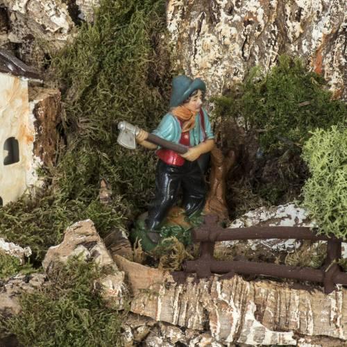Bourg crèche Noel 74x43x36 cm avec cascade s4