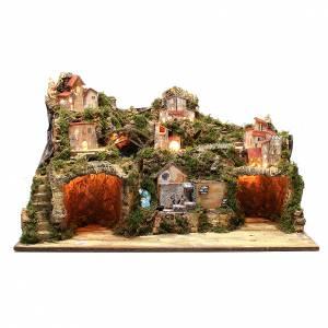 Étables crèche et Grottes: Bourgade crèche rustique avec grotte moulin éclairage 50x80x50 cm