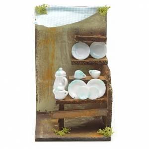 Maisons, milieux, ateliers, puits: Boutique de vaisselle en miniature pour crèche 20x33x18