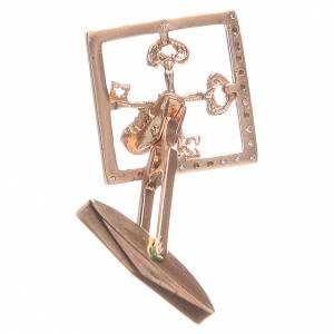 Boutons de manchette religieux: Boutons manchettes bijoux arg 800 rosé Clés Vatican 1,7x1,7 cm