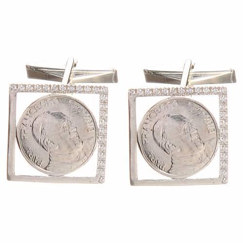 Boutons manchettes en argent 800 rhodié Pape François 1,8x1,8 cm s1