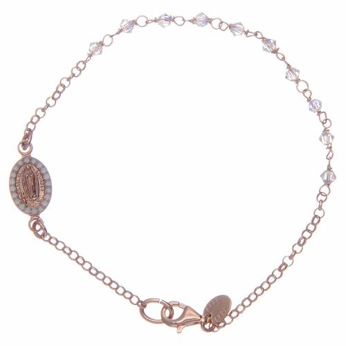 Bracciale argento 925 rosato e Swarovski trasparenti s1
