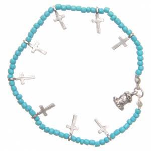 Bracciale croci perline turchesi s2