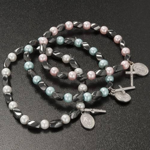 Bracciale elastico ematite e imitazione perla 3