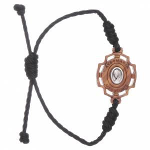 Bracciale Medjugorje immagine Gospa in ulivo e corda nera s1