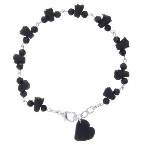 Bracciale Medjugorje nero grani cristallo cuore ceramica s1