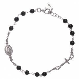 Bracciale rosario Amen arg 925 agata nera s1