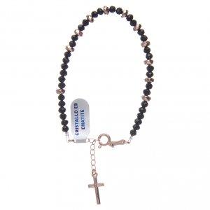 Bracciale rosario argento 925 cavetto cristallo nero cipollina e rondelle ematite rosé s1