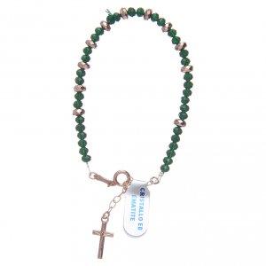 Bracciale rosario argento 925 cavetto cristallo verde cipollina e rondelle ematite rosé s1
