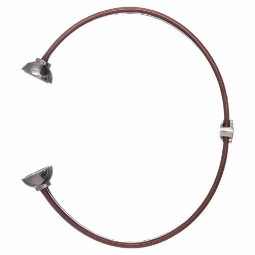 Bracciale termoplastica marrone angioletto zirconato arg 925 AMEN s3