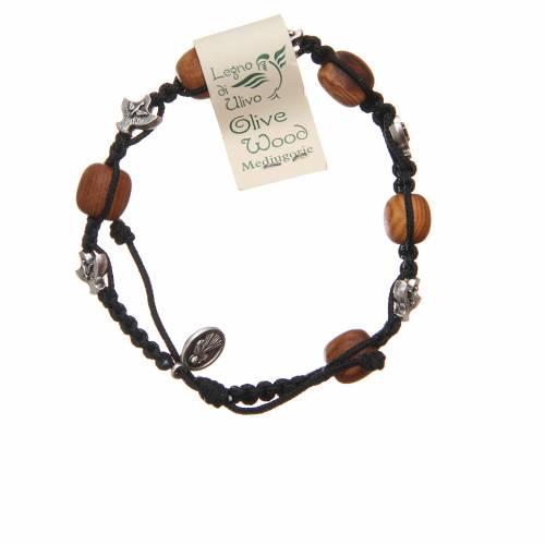 Braccialetto Medjugorje corda nera grani legno ulivo s2