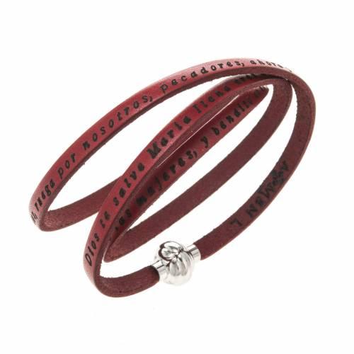 Bracelet Amen Je Vous Salue Marie rouge ESP s1