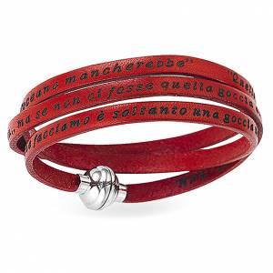 Bracelet AMEN phrase Mère Teresa de Calcutta ITA rouge s1