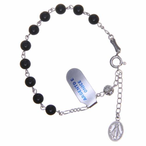 Bracelet chapelet onyx grains pavage 6 mm s1