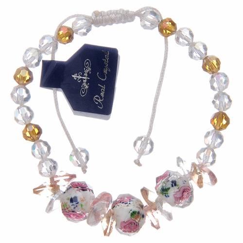 Bracelet corde avec grains en cristal avec roses blanc s1