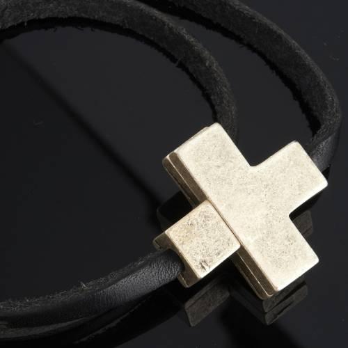 Bracelet cuir Medjugorje et croix zama long. 39 cm s3