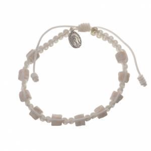 Bracelet dizainier Medjugorje blanc et pierre s1