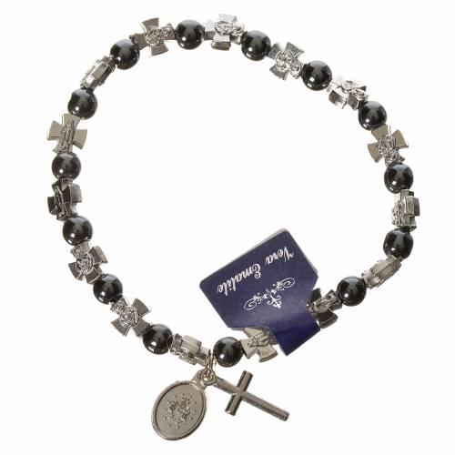 Bracelet élastique avec grains en hématite s2