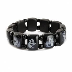 Bracelet images pieuses Vierge Jésus Saints, noir s7