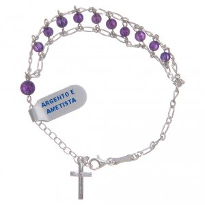 Silver bracelets: Bracelet in 925 sterling silver and amethyst 4 mm with double chain