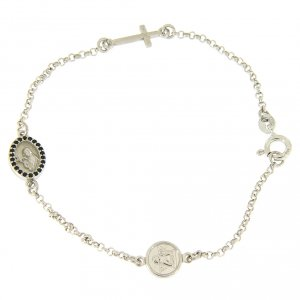 Silver bracelets: Bracelet in 925 sterling silver with cross and medalet with black zircons