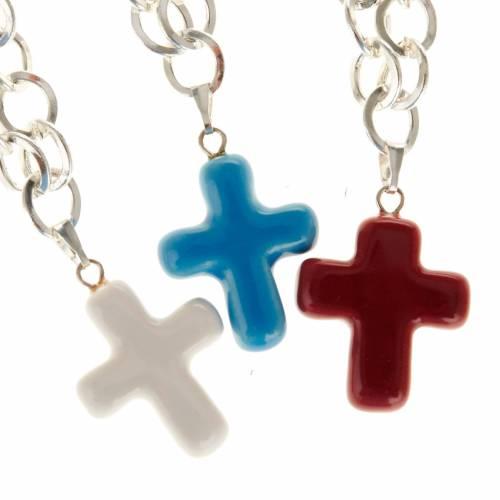 Bracelet in metal with ceramic cross s1