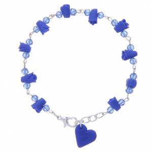Bracelet Medjugorje bleu coeur et roses céramique s1