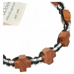 Bracelet Medjugorje corde noir et blanc croix en olivier s3