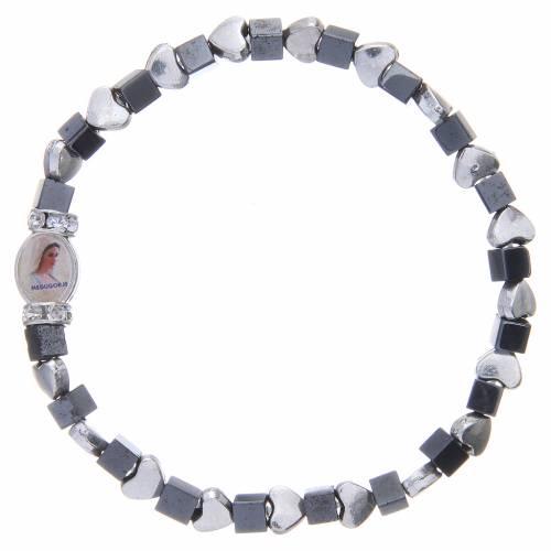 Bracelet Medjugorje hématite noire avec coeurs s1
