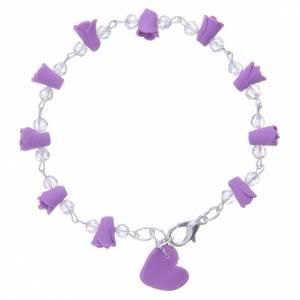 Bracelets, dizainiers: Bracelet Medjugorje lavande grains cristal
