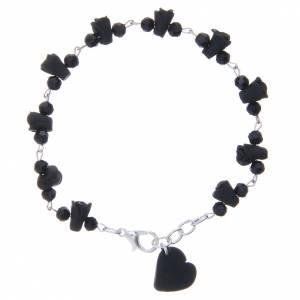 Bracelets, dizainiers: Bracelet Medjugorje noir grains cristal coeur céramique