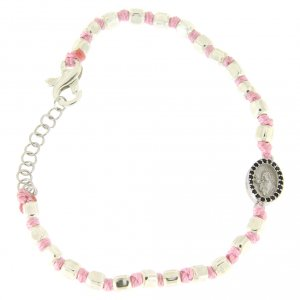 Silver bracelets: Bracelet with multifaceted silver beads 2 mm, pink cotton cord and Saint Rita medal with black zircons