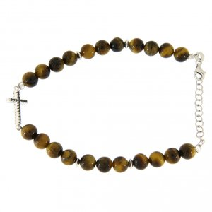 Silver bracelets: Bracelet with smooth tiger's eye spheres, a cross with black zircons in 925 sterling silver