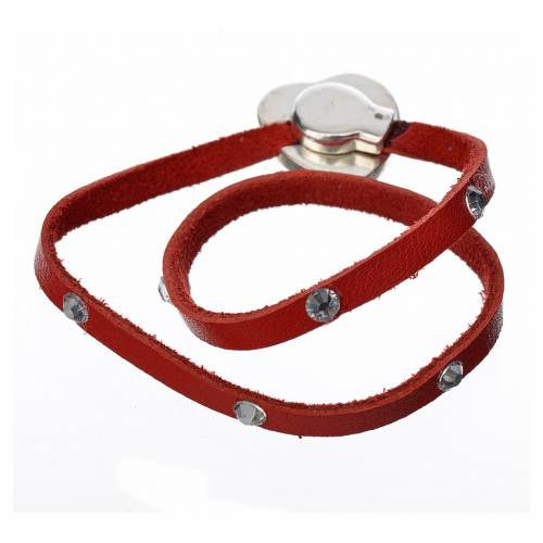 Bracelet with Swarovski, red leather, Virgin Mary pendant s3
