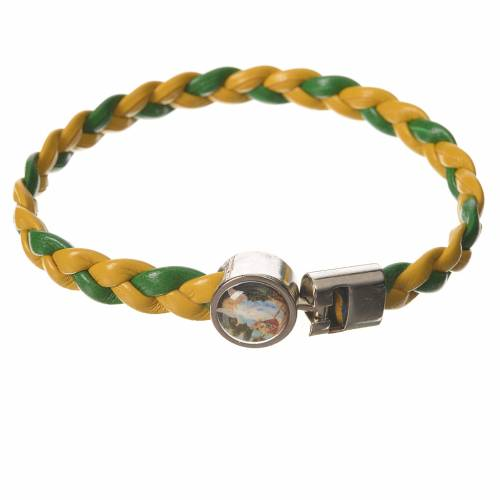 Braided bracelet, 20cm green and yellow with Angel s1