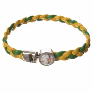Various bracelets: Braided bracelet, 20cm green and yellow with Pope Francis