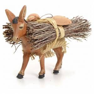 Brown donkey standing with wood, Neapolitan nativity 8cm s1