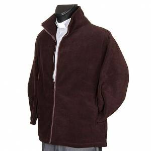 Brown pile jacket with zip and pockets s2