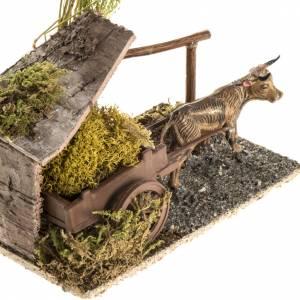 Animali presepe: Bue con carretto di lichene ambientazione 8-10 cm
