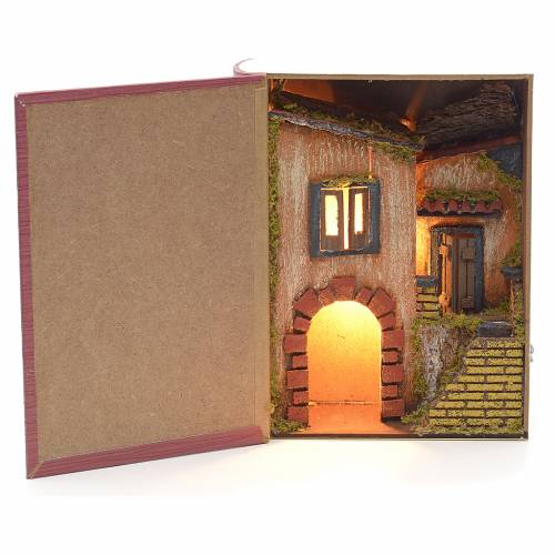 Burgo iluminado con arco forma libro de 24x19x8cm s1